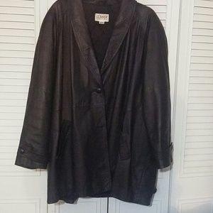 Liz Baker black leather coat. Size 3X